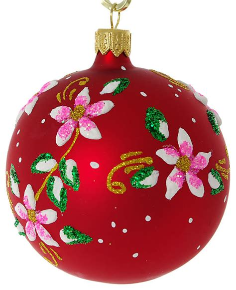 bloom glass christmas ball ornament red matte