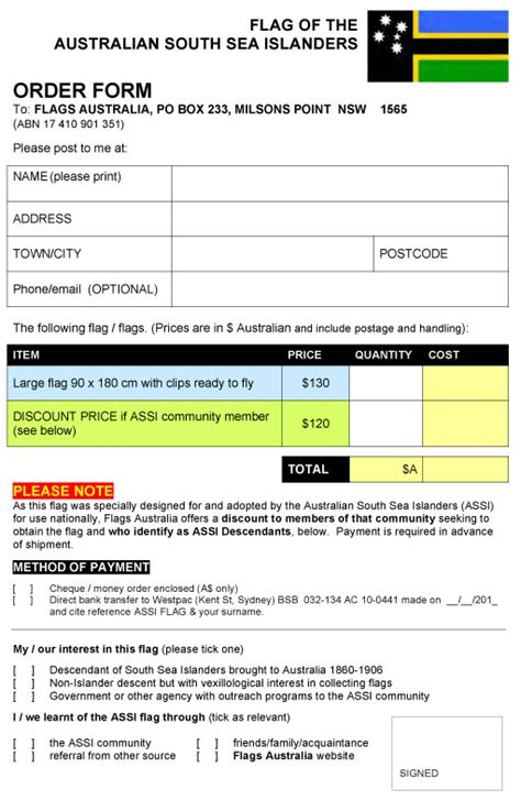 south hill design order form australian south sea islanders flag assi