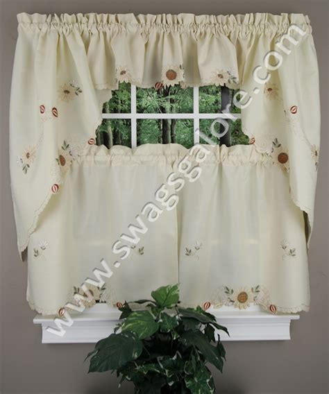 Fancy Kitchen Curtains Embroidered Sunflower Tiers Swags Discount Kitchen Curtains With Fancy Hem Cafe Tier Curtains