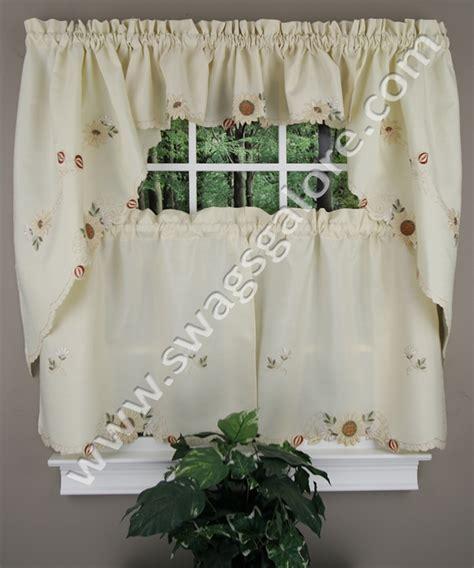 sunflower valance kitchen curtains embroidered sunflower tiers swags discount kitchen