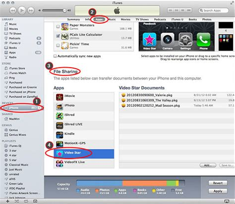 file sharing section of itunes back up your video projects and free up space video star