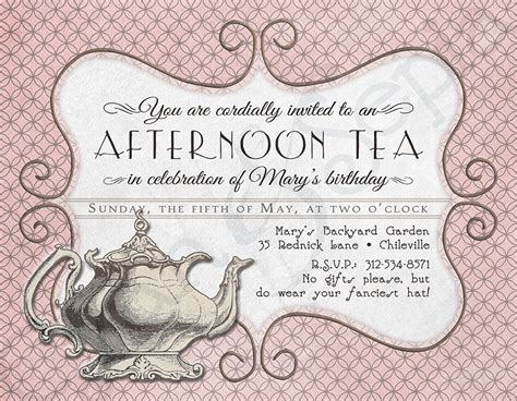 Printable Tea Party Birthday Invitation 4 25 X By Cyanandsepia Tea Invitation Template Word