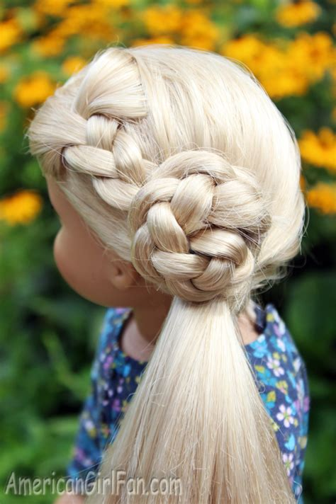 americangirlfan doll hairstyles doll hairstyle flower braid side ponytail