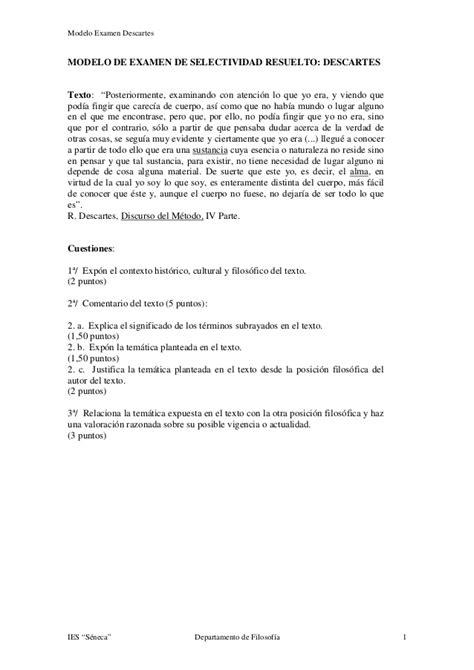 modelo de examen de selectividad resuelto descartes texto modelo examen descartes