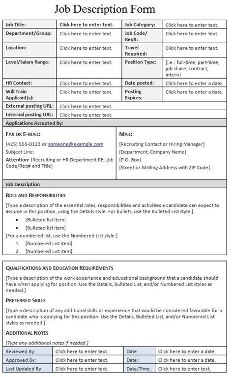 job description form template sle