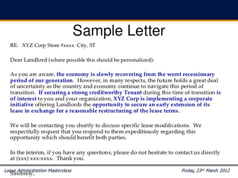 Rent Reduction Letter To Landlord Rpcon Masterclass S201 Lease Renewals Jerry King