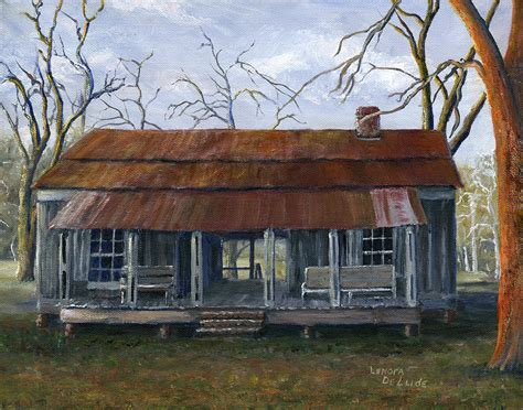 pleasant house hand painted art dogtrot house in pleasant hill louisiana painting by lenora de lude