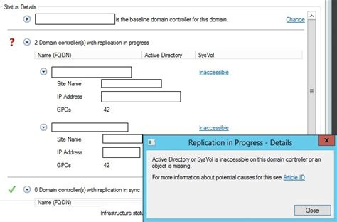 Domain Controller Replication Inaccessible