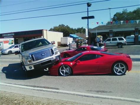 ferrari pickup truck image ferrari 458 italia gets run over by ford f 150