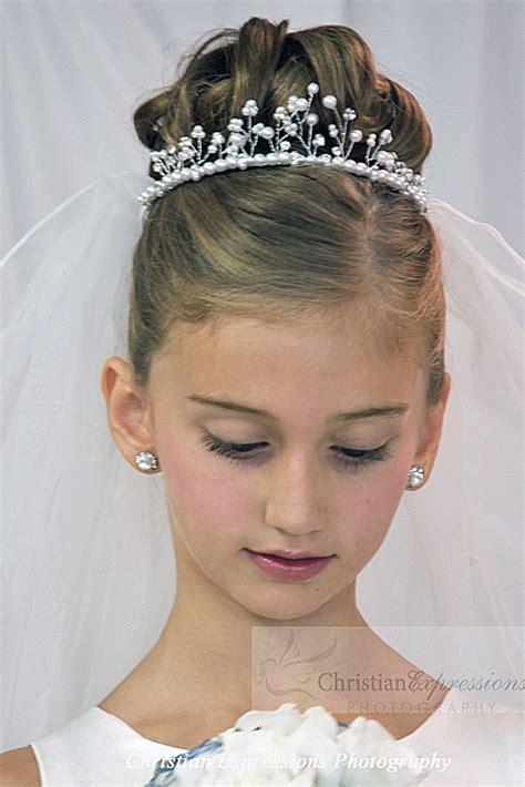 communion hairstyles buns first communion crown veil v93