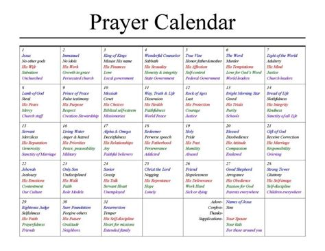 Prayer Calendar Snickelscorner Prayer Schedule Template