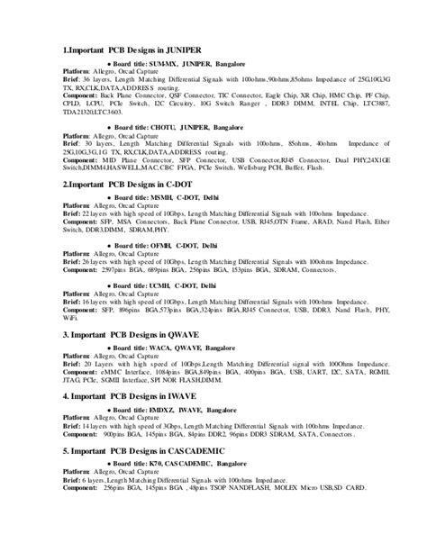 Pcb Designer Sle Resume by Pcb Layout Design Resume