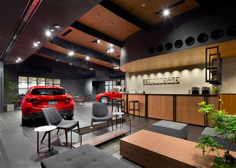 Interior Design Auto by Suppose Design Office Completes Car Showroom For Mazda