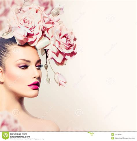 fashion model royalty free stock photography image 6953337 model girl with flowers hair royalty free stock photos
