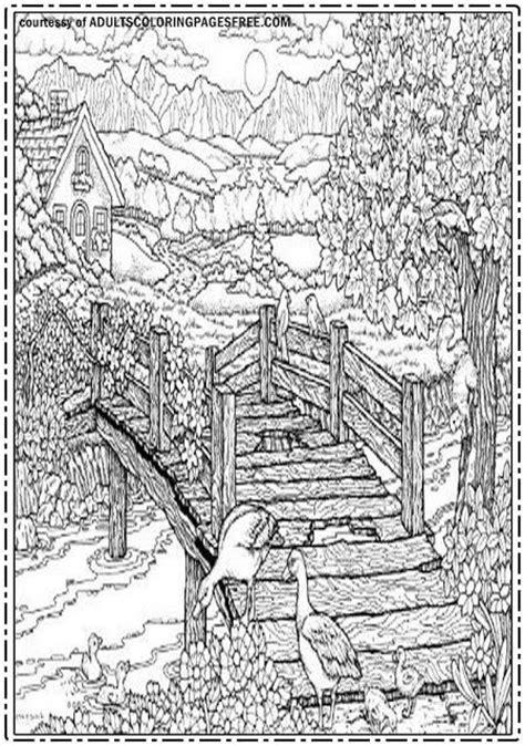 bridge   villages adults coloring pages