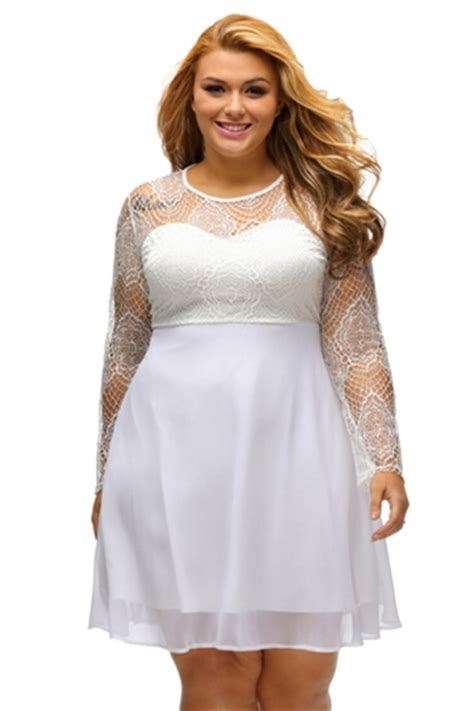 Dress Large Size Wh0153 womens boohoo plus size lace sleeve skater dress white pink