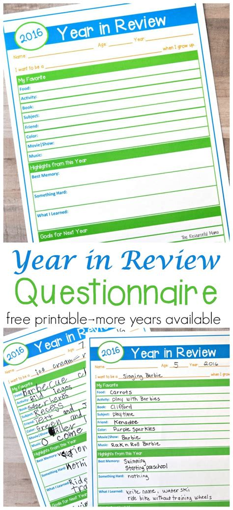 new year review year in review questionnaire free printable the