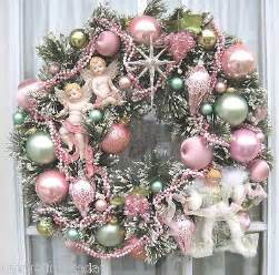 vintage bottle brush wreath handmade pink green