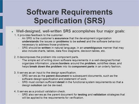srs software requirement specification template project management in team software projects ppt