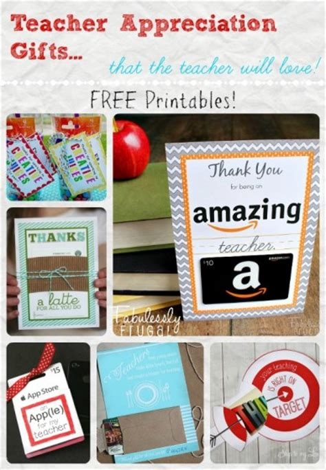 Gift Card Gift Ideas - teacher appreciation gift cards