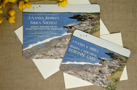 Wedding Announcement Envelopes by Rhode Island With Coastline Wedding Invitation With Rsvp