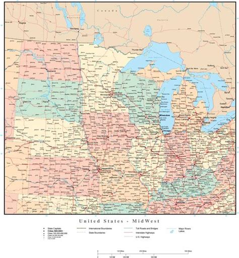 map of midwest states usa midwest region map with states highways and cities