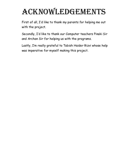 Acknowledgement Letter Sle For School Project How To Write A Acknowledgment In School Project Report865 Web Fc2