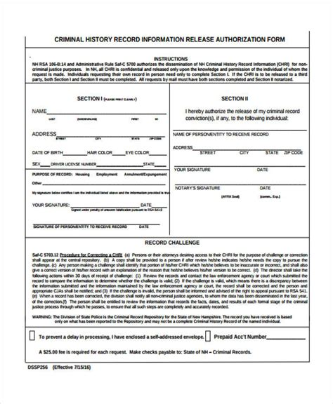 Criminal Record Form Sle Release Authorization Form 14 Free Documents In Word Pdf