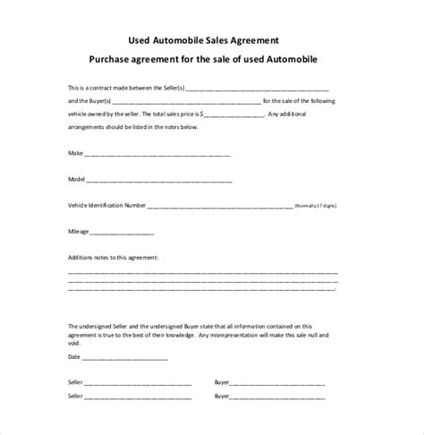 used car purchase agreement template sales agreement template 16 free word pdf document
