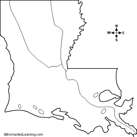 louisiana map black and white outline map louisiana enchantedlearning