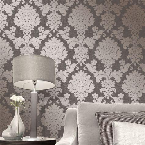 fine decor wallpaper designer wallpaper home flair decor fine decor quartz damask wallpaper silver gold rose gold