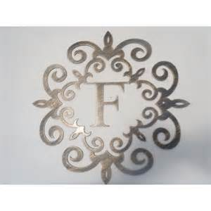 Initial Wall Decor by Family Initial Monogram Inside A Metal Scroll With F