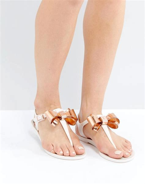Sandal Bow Pink by Lyst Ted Baker Effiey Pink Bow T Bar Flat Sandals In Pink