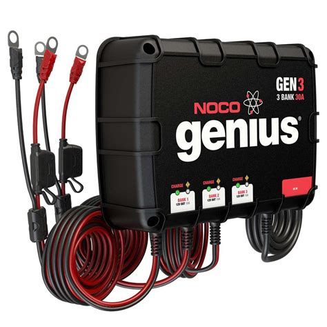 marine onboard battery charger noco genius gen3 30a onboard battery charger 3 bank ebay