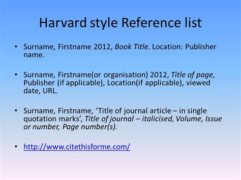 reference book in harvard style referencing ppt