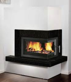pateo corner fireplace set with 8kw inset wood burning