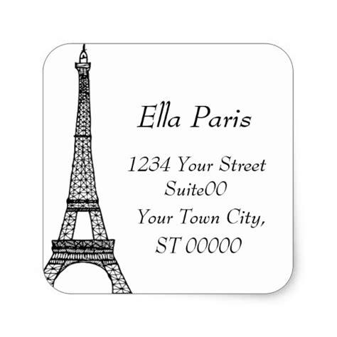 eiffel tower address sticker zazzle