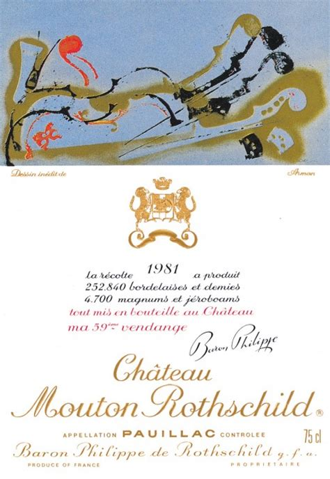 ch 226 teau mouton rothschild the labels room mouton rothschild 1981 arman