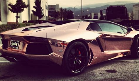 rose gold lamborghini tyga s lamborghini aventador roadster receives rose gold