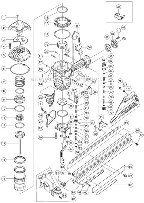 hitachi nail gun parts diagram hitachi nr90ae parts list and diagram ereplacementparts