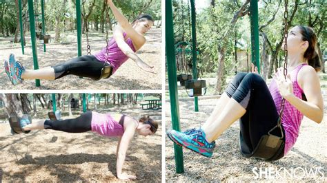 swing set workout 7 ab exercises you can do on a swing set