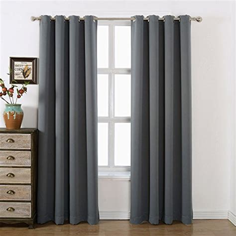 charcoal grey blackout curtains amazlinen 52 215 84 inch grommet top blackout curtains with