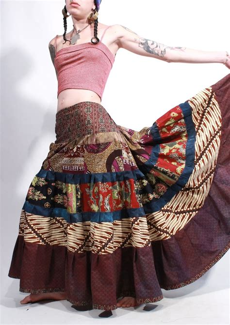Tribal Boho Oby Dress 1 the skirt not the tattoos temple batik patchwork tiered tribal maxi bustle