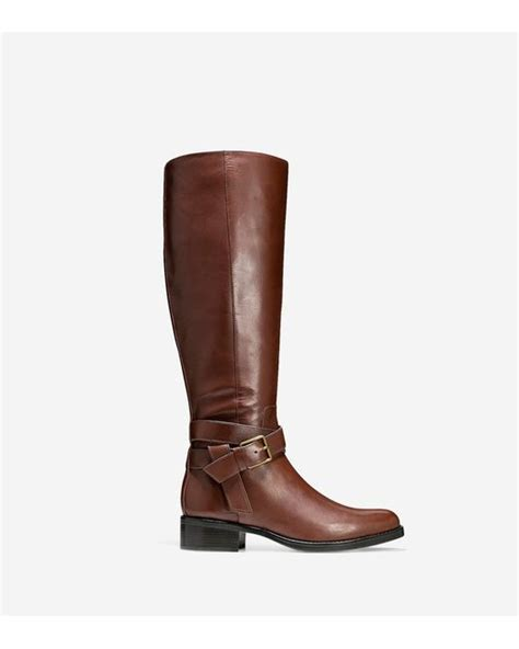 cole haan briarcliff leather knee high boots in brown