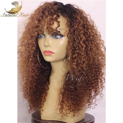 kinky curly human hair full lace front wigs 180 density ombre kinky curly wig human hair wigs