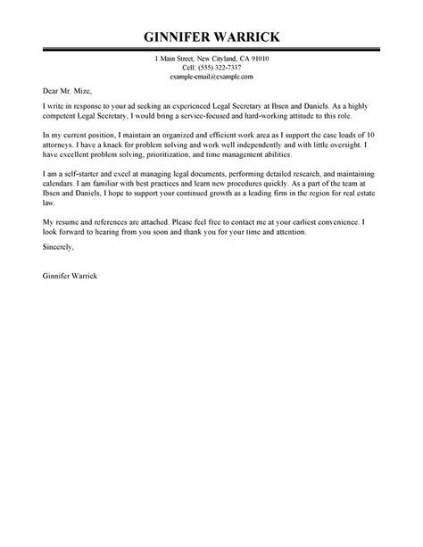 legal secretary cover letter exles legal cover letter