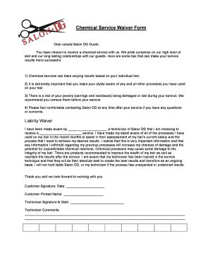 Salon Form Release Fill Online Printable Fillable Blank Pdffiller Free Salon Application Template