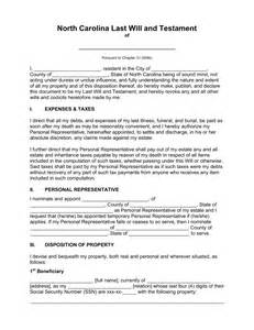 free carolina last will and testament template pdf