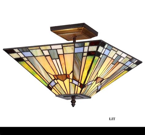 Stained Glass Ceiling Light Fixtures Ceiling Fixture 2 Light Mission Style Lighting Stained Glass Handcrafted Ebay