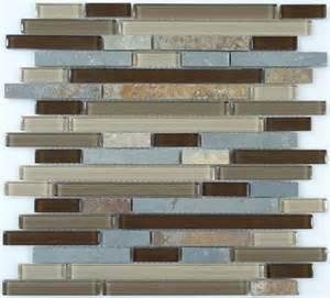 brown glass tile backsplash brown glossy and unpolished glass and slate modern